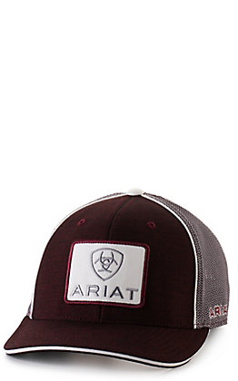Ariat Men's Burgundy with Cream Embroidered Ariat Patch Cap