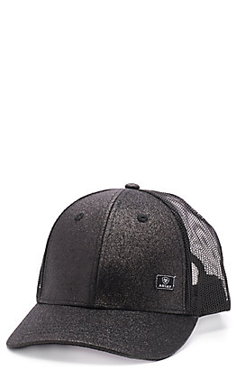 Ariat Women's Black Glitter Messy Bun Ball Cap