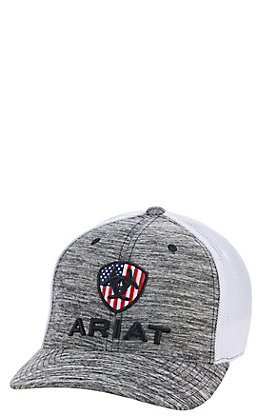 7ff957a25e046 Ariat Heather Grey with Flag Logo Cap
