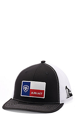 Ariat Men's Black & White Texas Flag Patch Cap