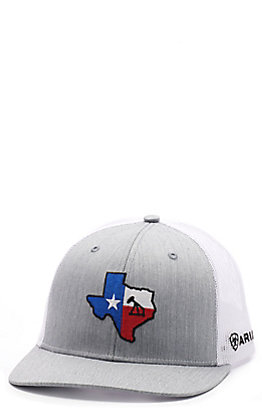 Ariat Men's Grey & White Texas Oil Derrick Patch Cap