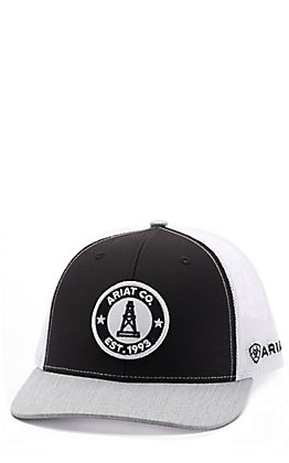Ariat Men's Grey, Black & White Oil Derrick Patch Cap