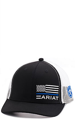 Ariat Men's Black Offset Police Patch Cap