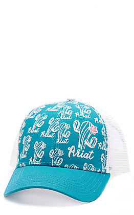 Ariat Women's Turquoise and White Cactus Print Cap