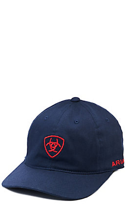 Ariat Navy Center Red Embroidered Shield Logo Cap