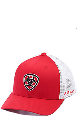 Ariat Red with Black Shield Logo Mesh Back Cap