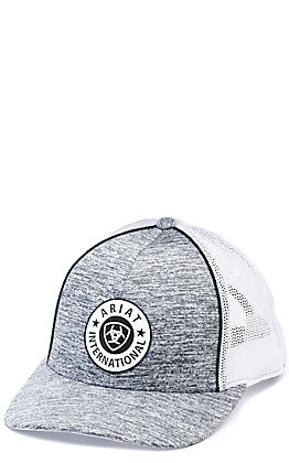 Ariat Heather Grey with Circle Logo Patch Mesh Back Cap