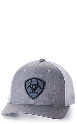 Ariat Grey and White with Shield Logo Patch Cap