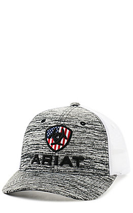 Ariat Youth Grey and White with American Flag Logo Snapback Cap