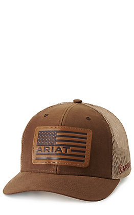 Ariat Men's Oilskin Brown Leather Patch Cap