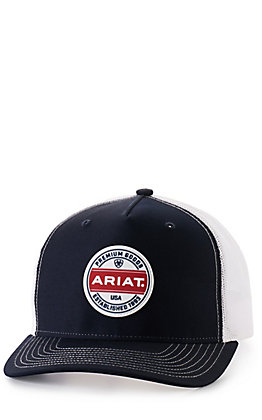 Ariat Navy and White with Rubberized Logo Patch Cap