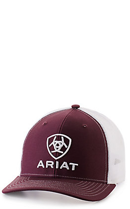 Ariat Men's Burgundy with White Embroidered Logo Cap