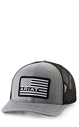 Ariat Grey with White Rubberized Flag Logo Patch Cap