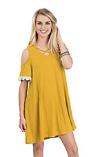Umgee Women's Mustard Criss Cross Cold Shoulder Short Sleeve Dress