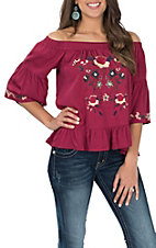 Umgee Women's Wine Floral Embroidered Off the Shoulder Fashion Shirt