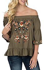 Umgee Women's Olive Floral Embroidered Off the Shoulder Fashion Shirt