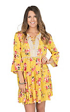 Umgee Women's Yellow Floral Peasant Dress