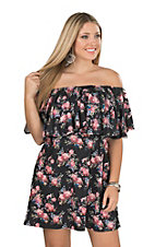 Umgee Women's Black Floral Off The Shoulder Dress