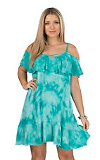 Umgee Women's Teal Tie Dye Cold Shoulder Spaghetti Stap Dress