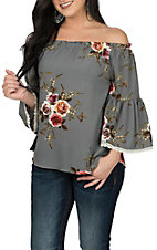 Umgee Women's Cool Grey Floral Off The Shoulder Fashion Shirt