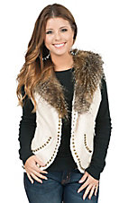 Montana Clothing Co. Women's Cream with Removable Faux Fur Collar Vest