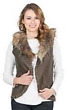 Montana Clothing Company Women's Brown with Fur Lining and Gold Studs Sleeveless Vest