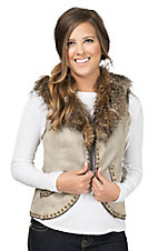 Montana Clothing Co. Women's Tan with Removable Faux Fur Collar Vest