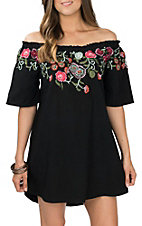 Umgee Women's Black Off the Shoulder Floral Print Dress