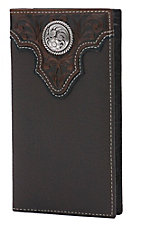 Ariat Chocolate Brown with Tooled Overlay and Circle Concho Leather Rodeo Wallet / Checkbook Cover
