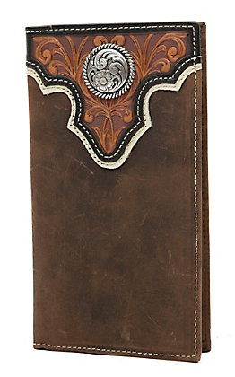 Ariat Distressed Brown with Tooled Overlay Dark Brown Trim and Circle Concho Leather Checkbook / Rodeo Wallet