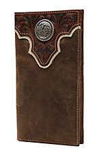 Ariat Distressed Brown with Tooled Overlay and Circle Concho Leather Checkbook / Rodeo Wallet