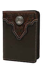 Ariat Chocolate Brown with Tooled Overlay and Circle Concho Leather Bi-Fold Flipcase Wallet