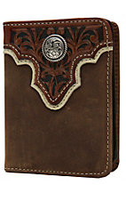 Ariat Distressed Brown with Tooled Overlay and Circle Concho Leather Bi-Fold Flipcase Wallet