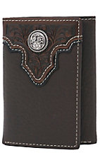 Ariat Chocolate Brown with Tooled Overlay and Circle Concho Leather Tri-Fold Wallet