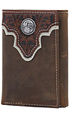 Ariat Distressed Brown with Tooled Overlay and Circle Concho Leather Tri-Fold Wallet