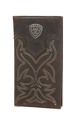 Ariat Brown with Brown Overlay Boot Stitch & Shield Leather Checkbook / Rodeo Wallet