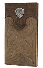 Ariat Distressed Brown with Brown Overlay with Boot Stitch & Shield Leather Checkbook / Rodeo Wallet