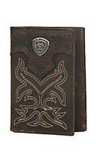 Ariat Brown with Boot Stitching Leather Tri-Fold Wallet