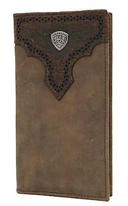 Ariat Distressed Brown with Dark Brown Perforated Overlay with Shield Leather Checkbook / Rodeo Wallet