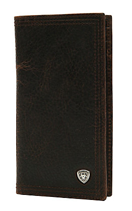 Ariat Performance Work Dark Rowdy Brown Leather Checkbook / Rodeo Wallet