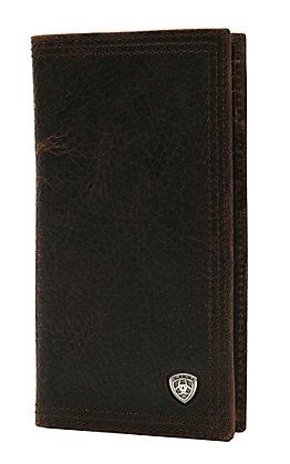 Ariat Performance Work Dark Rowdy Brown Leather Checkbook / Rodeo Wallet