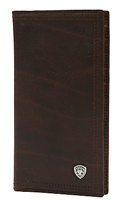 Ariat Performance Work Dark Copper Leather Checkbook / Rodeo Wallet