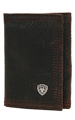 Ariat Performance Work Dark Brown with Small Shield Tri-Fold Wallet