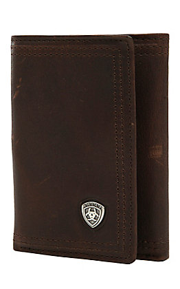 Ariat Performance Work Dark Copper with Small Shield Tri-Fold Wallet