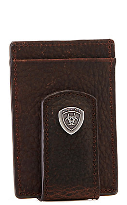 Ariat Men's Rowdy Brown Leather Money Clip and Card Holder Wallet