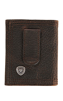 Ariat Performance Work Dark Brown Front Pocket Money Clip Bi-Fold Wallet