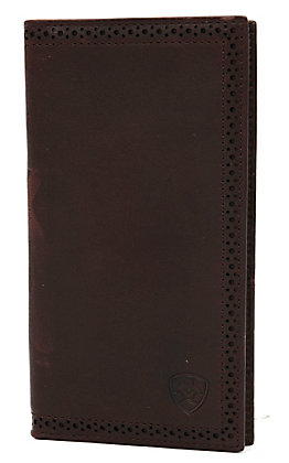 Ariat Dark Bay Brown with Perforated Edge Leather Checkbook / Rodeo Wallet