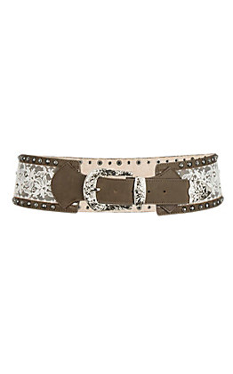 3D Belt Company Women's Brown with Lace Inlay Fashion Belt