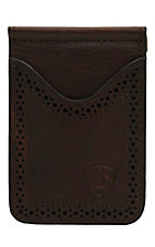 Ariat Dark Bay Brown with Perforated Edge Leather Card Case / Money Clip
