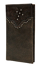Ariat Distressed Dark Brown with Dark Brown Tooled Cross Overlay and Studs Checkbook / Rodeo Wallet
